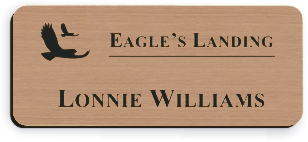 Smooth Plastic Name Tag: Brushed Copper with Black - LM922-894