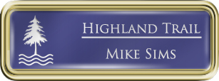 Framed Name Tag: Gold Plastic (rounded corners) - Purple and White Plastic Insert with Epoxy