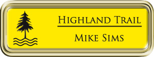 Framed Name Tag: Gold Plastic (rounded corners) - Canary Yellow and Black Plastic Insert