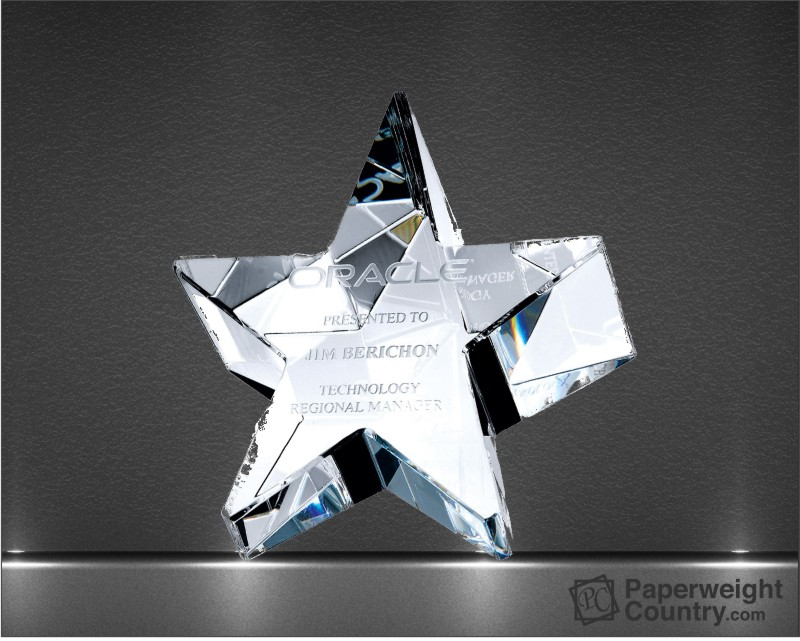2 1/8 x 4 x 4 Inch Slant Star Optic Crystal Paperweight
