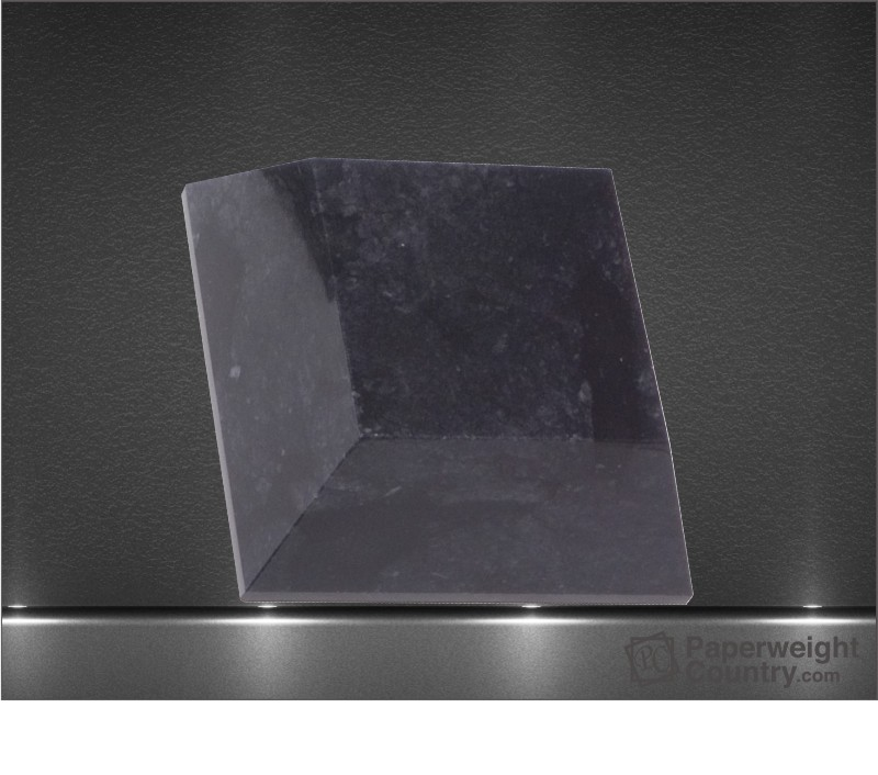 1 3/4 x 4 1/2 x 4 1/2 Inch Black Marble Tapered Square Paperweight