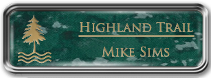 Framed Name Tag: Silver Metal (rounded corners) - Verde and Gold Plastic Insert with Epoxy
