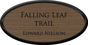 Framed Name Tag: Black Plastic (oval) - Deep Bronze and Black Plastic Insert