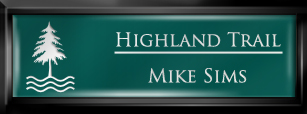 Framed Name Tag: Black Plastic (squared corners) - Evergreen and White Plastic Insert with Epoxy