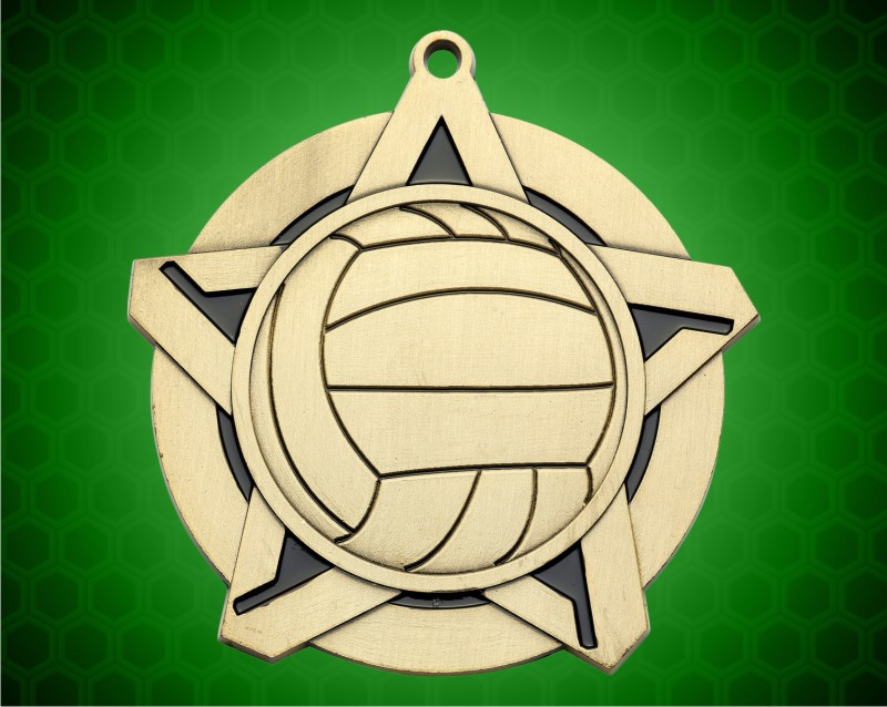 2 1/4 inch Gold Volleyball Super Star Medal