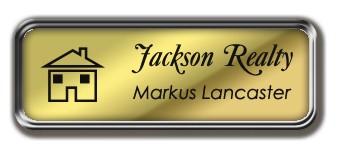 Silver Metal Framed Nametag with Shiny Gold and Black