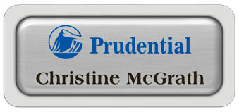Metal Name Tag: Brushed Silver Metal Name Tag with a Light Grey Plastic Border and Epoxy