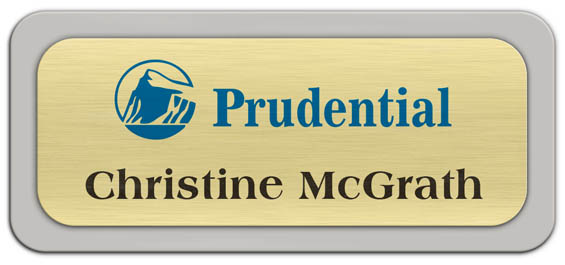 Metal Name Tag: Brushed Gold Metal Name Tag with a Pearl Grey Plastic Border