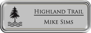Framed Name Tag: Silver Plastic (rounded corners) - Smooth Silver and Black Plastic Insert