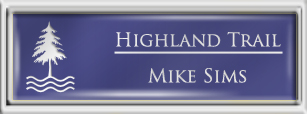 Framed Name Tag: Silver Plastic (squared corners) - Purple and White Plastic Insert with Epoxy