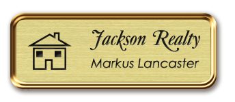 Framed Name Tag: Rose Gold Metal (rounded corners) - Euro Gold and Black Plastic Insert with Epoxy