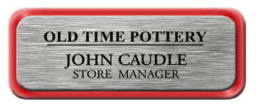 Metal Name Tag: Brushed Silver with Shiny Red Metal Border