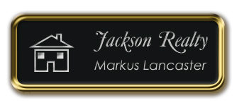 Gold Metal Framed Nametag with Black and Silver