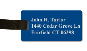 Textured Plastic Luggage Tag: Sapphire with White - 822-503
