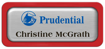 Metal Name Tag: Brushed Silver Metal Name Tag with a Red Plastic Border and Epoxy