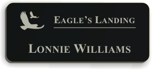 Smooth Plastic Name Tag: Black with Silver - LM922-413