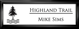 Framed Name Tag: Black Plastic (squared corners) - White and Black Plastic Insert