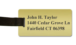 Smooth Plastic Luggage Tag: Shiny Gold with Black - LM922-734