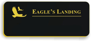 Blank Smooth Plastic Name Tag with Logo: Black and Gold - LM922-417