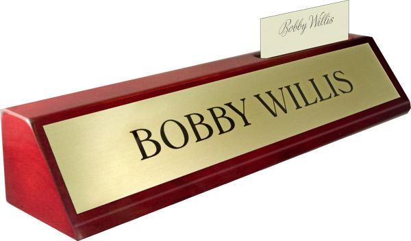 Rosewood Piano Finish Deskplate - Brushed Gold Metal Name Plate, Card Slot