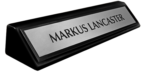 "Brushed Silver Metal Name Plate with a Black Border on an 8"" Black Piano Finish Deskplate"