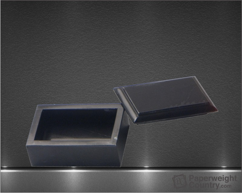 1 3/4 x 4 x 2 1/2 Inch Jet Black Marble Business Card Box