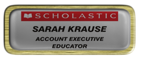 Metal Name Tag: Shiny Silver with Epoxy and Brushed Gold Metal Border