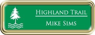 Framed Name Tag: Gold Plastic (rounded corners) - Kelley Green and White Plastic Insert