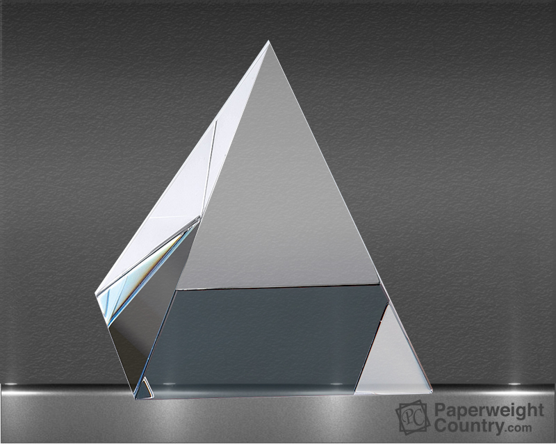 2 5/8 x 2 3/8 x 2 3/8 Inch Clear Optic Crystal Pyramid Paperweight