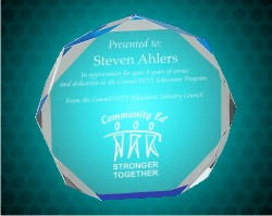 6 Inch Blue  Octagon Acrylic Award