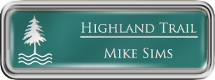 Framed Name Tag: Silver Plastic (rounded corners) - Celadon Green and White Plastic Insert with Epoxy