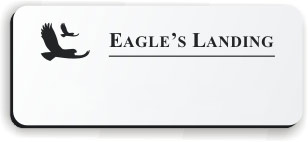 Blank Smooth Plastic Name Tag with Logo: White and Black - LM922-204
