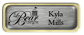 Metal Name Tag: Brushed Silver with Epoxy and Shiny Gold Metal Border