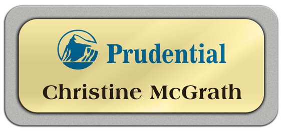 Metal Name Tag: Shiny Gold Metal Name Tag with a Silver Plastic Border