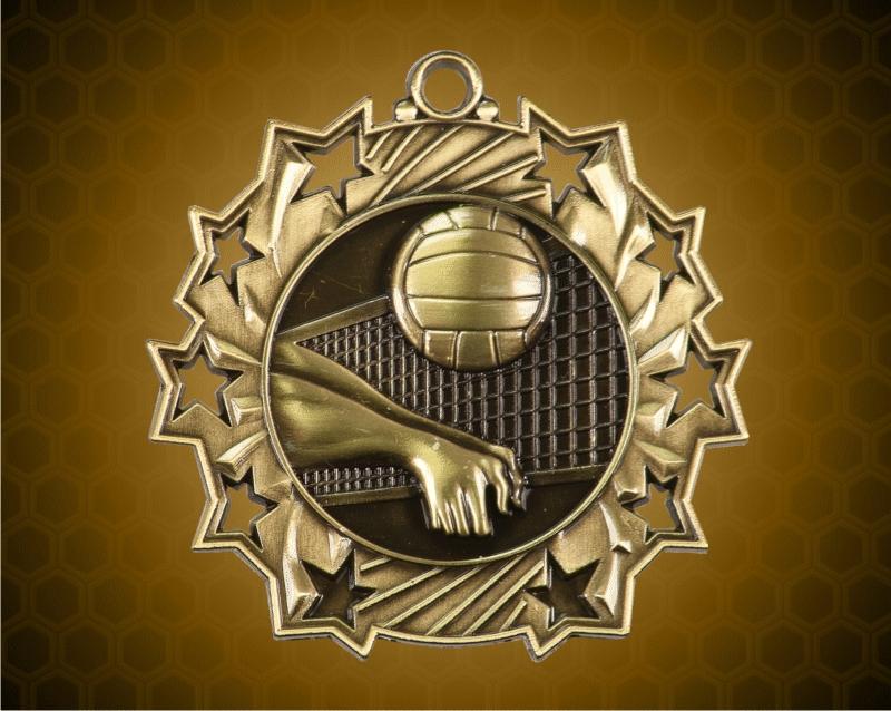 2 1/4 Inch Gold Volleyball Ten Star Medals