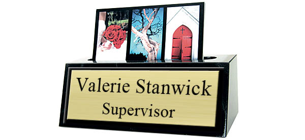 Black Marble Card Holder Small Desk Name Plate - Brushed Gold Metal Plate with Black Border
