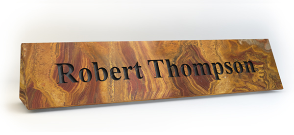 Molten Lava Onyx Marble Desk Plate Engraved