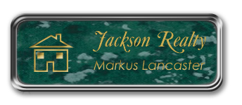 Silver Metal Framed Nametag with Verde and Gold