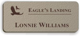 Textured Plastic Nametag: Bermuda Tan with Dark Brown - 822-258