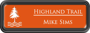 Framed Name Tag: Black Plastic (rounded corners) - Tangerine and White Plastic Insert