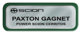 Metal Name Tag: Shiny Silver with Green Metal Border