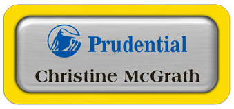 Metal Name Tag: Brushed Silver Metal Name Tag with a Yellow Plastic Border and Epoxy