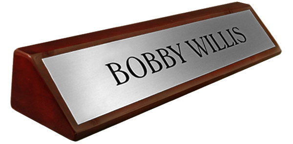Rosewood Piano Finish Desk Name Plate - Metal Brushed Silver Plate 8""