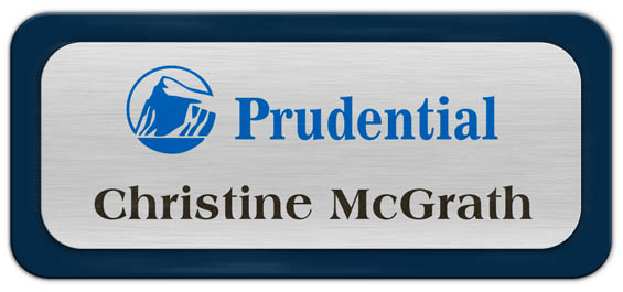 Metal Name Tag: Brushed Silver Metal Name Tag with a Marine Blue Plastic Border