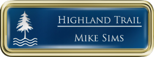 Framed Name Tag: Gold Plastic (rounded corners) - Patriot Blue and White Plastic Insert with Epoxy