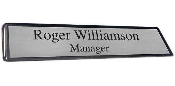 Black Piano Finish Desk Plate with a Brushed Silver Name Plate