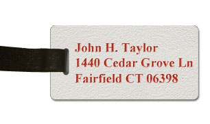 Textured Plastic Luggage Tag: White with Red - 822-246