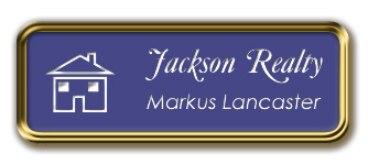 Gold Metal Framed Nametag with Purple and White