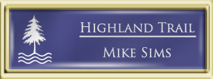 Framed Name Tag: Gold Plastic (squared corners) - Purple and White Plastic Insert with Epoxy