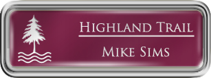 Framed Name Tag: Silver Plastic (rounded corners) - Claret and White Plastic Insert with Epoxy